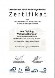 Zertifikat Kanal-Sanierungsberater