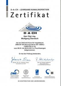 Zertifikat Lehrgang Kanalinspektion